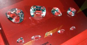 Glass copies of the nine diamonds cut from the original Cullinan diamond