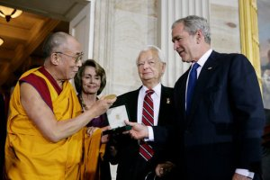 The Dalai Lama receiving a Congressional Gold Medal in 2007. From left: Speaker Nancy Pelosi, Senate President pro tempore Robert Byrd and U.S. President George W. Bush
