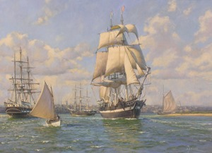 Essex leaving Nantucket, August 12th, 1819 (painting by Anthony D. Blake)