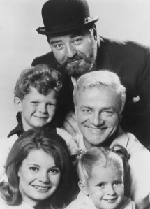 Brian Keith (center right) with the co-stars of Family Affair