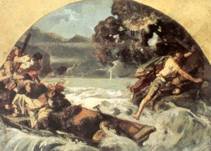 Tell's leap (Tellensprung) from the boat of his captors at the Axen cliffs by Ernst Stückelberg (1879) for his fresco at the Tellskapelle.