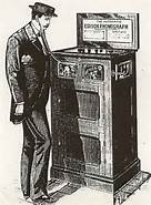 "Picture of Keller""s coin-op phonograph, 1890"