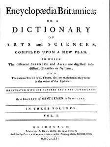 Title page of the first edition of the Encyclopaedia Britannica