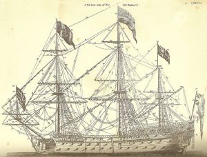 """Andrew Bell's copperplate of a first rate ship-of-war from the First Edition of the Encyclopædia Britannica - """"undoubtedly the noblest machine that ever was invented"""""""
