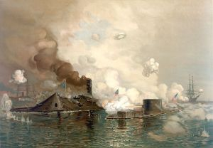 USS Monitor in action, March 9, 1862