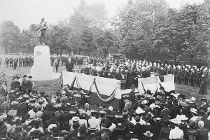 The 1903 unveiling of the General John Graves Simcoe monument at Queen's Park in Toronto.