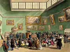 Christie's auction room in London: This engraving was published as Plate 6 of Microcosm of London (1808)