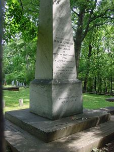 Jefferson's tombstone. The inscription, as he stipulated, reads Here was buried Thomas Jefferson, author of the Declaration of American Independence, of the Statute of Virginia for Religious Freedom, and father of the University of Virginia.