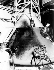 Exterior of the Apollo 1's Command Module was blackened from eruption of the fire after the cabin wall failed