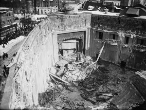 Interior of Knickerbocker Theatre, Washington, DC, following roof collapse on January 28, 1922