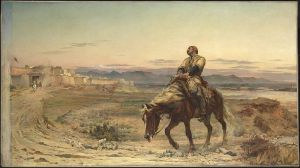 Remnants of an Army by Elizabeth Butler depicting the arrival of assistant surgeon, William Brydon, at Jalalabad on January 13, 1842.