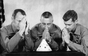 The Apollo 1 crew expressed their concerns about their spacecraft's problems by presenting this parody of their crew portrait to ASPO manager Joseph Shea on August 19, 1966.