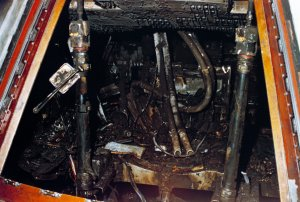 the Apollo 1 cabin interior, charred by the fire which killed the entire crew