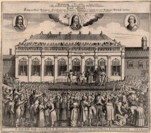 Contemporary German print depicting King Charles I's decapitation