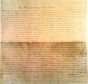 Thomas Jefferson's original draft for the Bill Establishing Religious Freedom