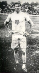 Jim Thorpe is shown in this 1912 Olympic photo wearing two different shoes and extra socks because one shoe was too big.