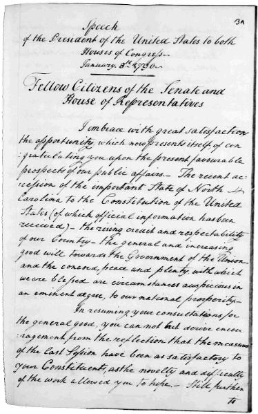 First page of George Washington's handwritten notes for the first State of the Union Address, January 8, 1790.