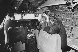 First Lady Pat Nixon visits the cockpit of the first commercial 747 during the christening ceremony, January 15, 1970