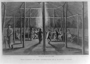 Drawing by Samuel Seymour of a dance inside a Kansa lodge in 1819.