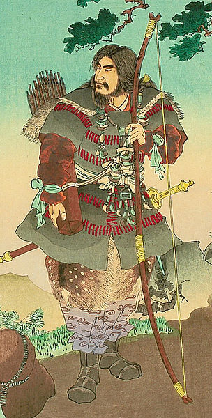 "Emperor Jinmu - Stories from ""Nihonki"" (Chronicles of Japan), by Ginko Adachi. Woodblock print depicting legendary first emperor Jimmu, who saw a sacred bird flying away while he was in the expedition of the eastern section of Japan. Circa 1891."
