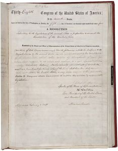 An original copy of Amendment XIII in the National Archives, bearing the signature of President Abraham Lincoln