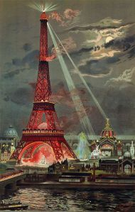 Illumination of the Eiffel Tower at night during the 1889 World Exposition