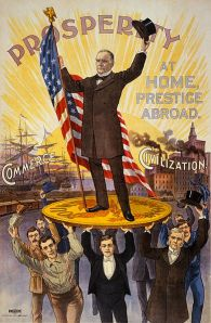 1900 Presidential reelection poster celebrates McKinley standing tall on the gold standard with support from soldiers, sailors, businessmen, factory workers and professionals.