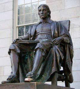 Bronze statue representing John Harvard, Harvard Yard, Cambridge, Massachusetts