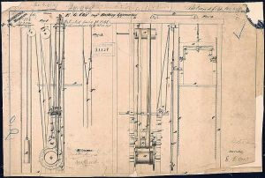 Elisha Otis's elevator patent drawing, 1861