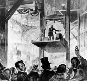 Elisha Otis demonstration of his free-fall prevention mechanism, Crystal Palace 1854.