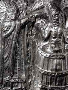King Harald being baptized by Poppo the monk, in a relief dated to c. 1200