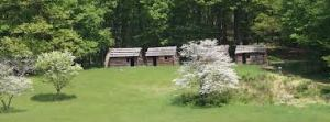 Jockey Hollow Continental Army soldier encampment huts at Morristown National Historical Park