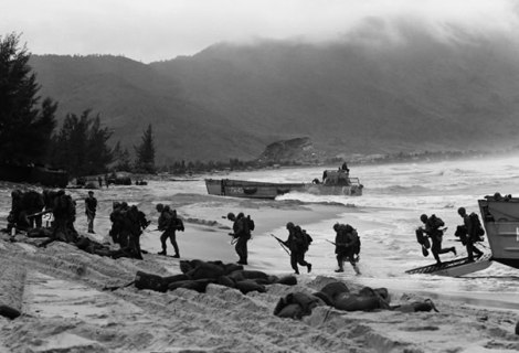 U.S. Marines arrive by landing craft at Da Nang, Vietnam on March 8, 1965.