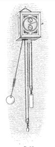 Drawing of the first pendulum clock, designed by Dutch scientist Christiaan Huygens in 1657
