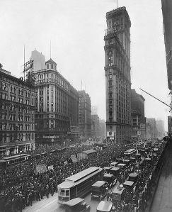 Thousands gather outside The New York Times building in Times Square to get World Series results from a remote scoreboard in October of 1919.