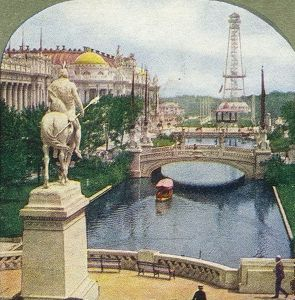 East Lagoon, statue of Saint Louis, Palaces of Education and Manufacture, and wireless telegraph tower.