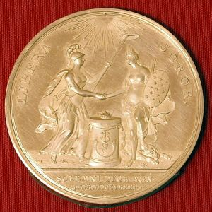 A medallion produced in Amsterdam for John Adams in 1782 by Johann Georg Holtzhey to celebrate recognition of the United States as an independent nation by The Netherlands, from the coin collection of the Teylers Museum.