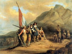 Jan van Riebeeck arrives in Table Bay April 6, 1652.