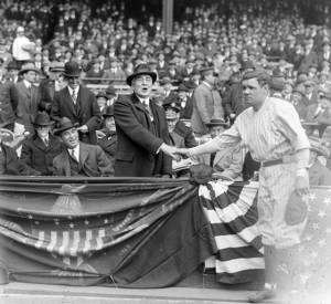 Babe Ruth Shaking Hands with President Warren Harding  Opening of Yankee Stadium, April 18. 1923