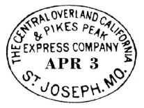 Postmark used on first Westbound Pony Express trip, April 3, 1860.