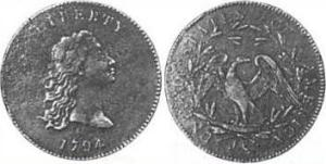 Robert Scot's copper test Flowing Hair dollar, without the obverse stars of the circulating issues.