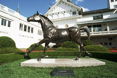 Bronze statue of Aristides by Carl Regutti stands in the Clubhouse Gardens of Churchill Downs