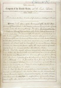 The first page of the Chinese Exclusion Act