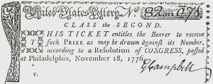 Lottery ticket issued by Continental Congress in 1776 to finance the American Revolutionary War.