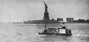 The Carlins sailed past the Statue of Liberty in New York Harbor on one of their first transatlantic crossing attempts in 1948.