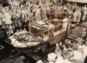 The Carlins and Half-Safe were greeted by a large crowd upon landing in Copenhagen, Denmark in 1951.